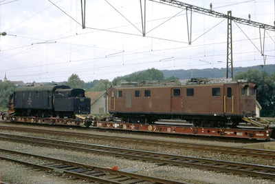 RhB Ge 4/4 Bernina + Xrot 9212, Romont, 1970 (Photo: Karl Meyer)