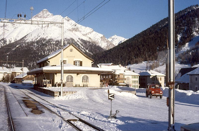RhB S-chanf Bahnhof, Winter, 1988