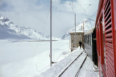 Lago Bianco, Winter, Berninabahn, Station Hospiz, 1968