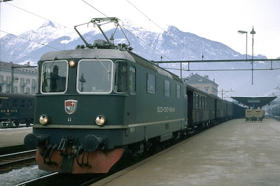 SOB, Bellinzona, Re 4/4 III 41, Aufnahme 1969 (Photo: Karl Meyer)